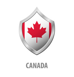 canada flag on metal shiny shield vector image
