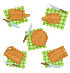 cartoon set with cutting board knife napkin vector image
