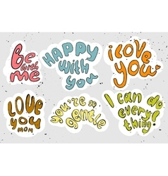 Cartooning lettering about love vector