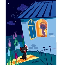 Cats serenade at night vector