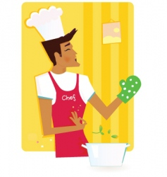 Chef in kitchen vector