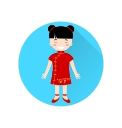 Chinese Girl flat icon on the blue circle with vector