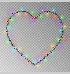 christmas lights heart transparent light g vector image