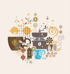 Coffee concept with mix graphic and variety vector