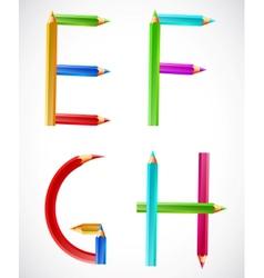 Colorful alphabet pencils e f g h vector