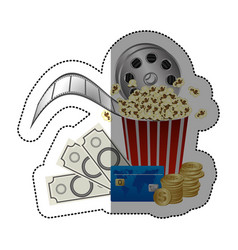 Colorful sticker with popcorn cup and money and vector