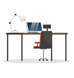 comfortable workplace at office laptop for work vector image