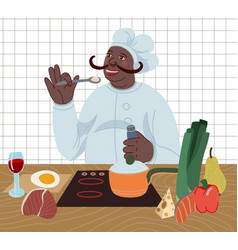 cook prepare food in kitchen from healthy vector image