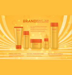 cosmetic bottles and tubes template beauty skin vector image