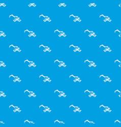 crane truck pattern seamless blue vector image
