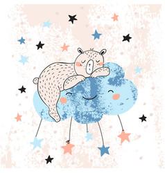 cute teddy bear sleeping on a cloud among stars vector image