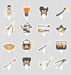dental services sticker two color sticker icons vector image