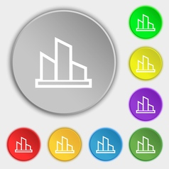 Diagram icon sign Symbol on eight flat buttons vector