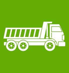 Dumper truck icon green vector