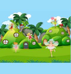 Fairys in fantasy nature scene vector