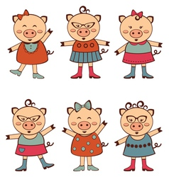 Fashion piggies set vector image