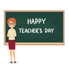female teacher against a blackboard background vector image