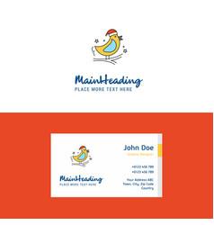flat bird logo and visiting card template vector image