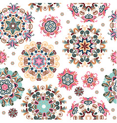 floral seamless pattern with stylized snowflakes vector image