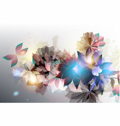 floral shiny background in futuristic style vector image