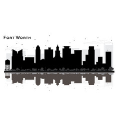 fort worth texas city skyline silhouette with vector image