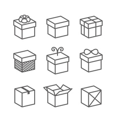 Gift box icons holiday presents vector