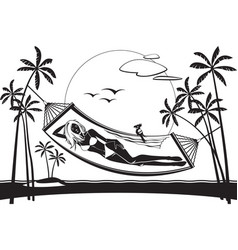 Girl lying on a hammock on the beach vector