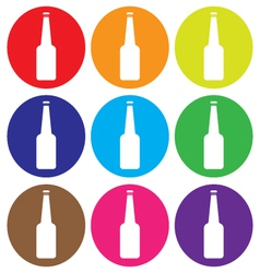 glass bottle icon set vector image