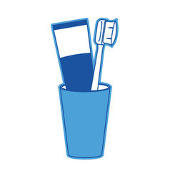 glass with tube toothpaste and toothbrush in blue vector image
