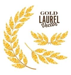 Gold laurel elements for award design vector