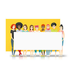 group multi ethnic women holding empty board vector image