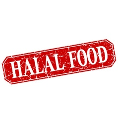 Halal food red square vintage grunge isolated sign vector