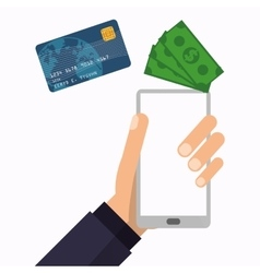 hand holds smartphone wallet technology vector image