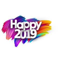 happy 2019 new year festive background with vector image