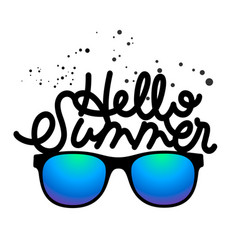 hello summer hand drawn lettering logo template vector image