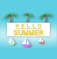 Hello summer paper fashion concept vector