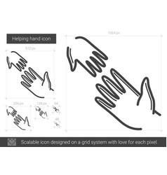 Helping hand line icon vector