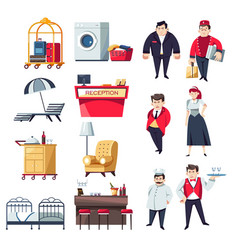 Hotel staff and furniture restaurant and rooms vector