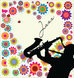Jazz and flower background vector image