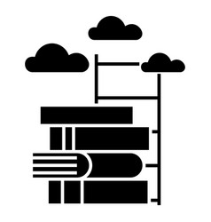knowledge - way to - books with staircase icon vector image