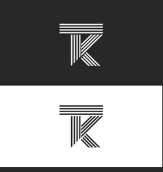 logo tk letters monogram linear style combination vector image