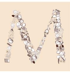 M school alphabet letter vector