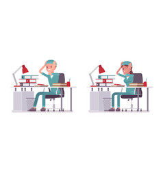 Male and female nurse at paperwork vector