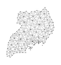 map of uganda from polygonal black lines and dots vector image