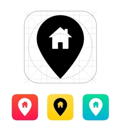 Map pin with home icon vector