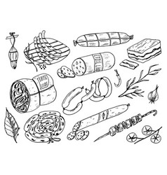 meat food sausage and steak for bbq and picnic vector image