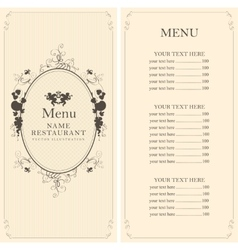 menu with floral ornaments vector image
