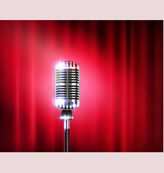 Microphone stand up show realistic composition vector