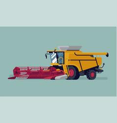 Modern combine harvester with grain crops header vector