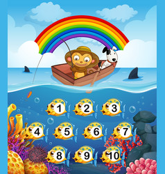 Monkey on the boat fishing vector